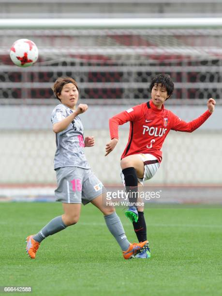 Saori Takahashi of Chifure AS Elfen Saitama and Shiho Kohata of Urawa Red Diamonds Ladies compete for the ball during the Nadeshiko League Cup Group...
