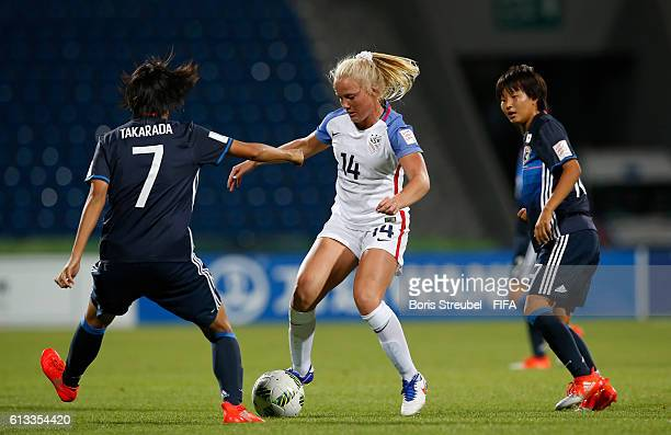 Saori Takarada and Oto Kanno of Japan challenge Civana Kuhlmann of the USA during the FIFA U17 Women's World Cup Group D match between Japan and USA...
