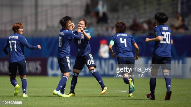 Saori Takarada of Japan celebrates her team's first goal with team mates during the FIFA U20 Women's World Cup France 2018 group C match between...