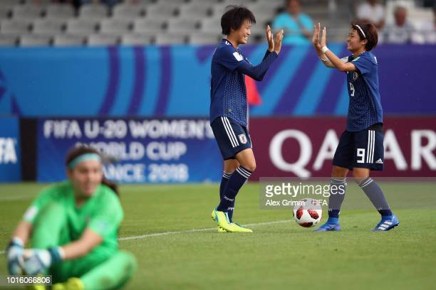 Saori Takarada of Japan celebrates her team's sixth goal with team mate Hinata Miyazawa during the FIFA U-20 Women's World Cup France 2018 group C...