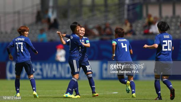 Saori Takarda of Japan celebrates scoring a goal with her team mates during the FIFA U20 Women's World Cup France 2018 group C match between Japan...