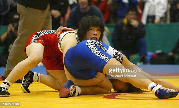 Saori Yoshida and Seiko Yamamoto compete in the 55kg Final during the Japan Queens Cup Women's Wrestling Championships at the Ashikaga City Gymnasium...
