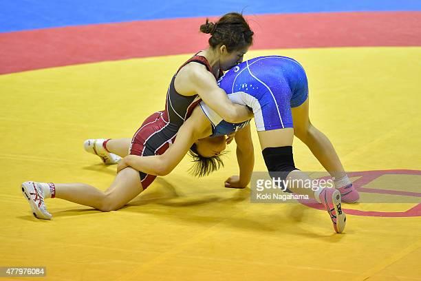 Saori Yoshida competes in the Women's 53kg free style semi final match against Mayu Mukaida during All Japan Wrestling Championships at Yoyogi...