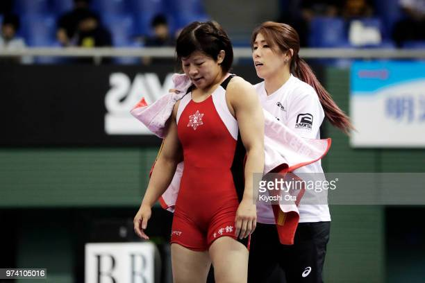 Saori Yoshida is seen while Mayu Mukaida competes against Saki Igarashi in the Women's 55kg final on day one of the All Japan Wrestling Invitational...
