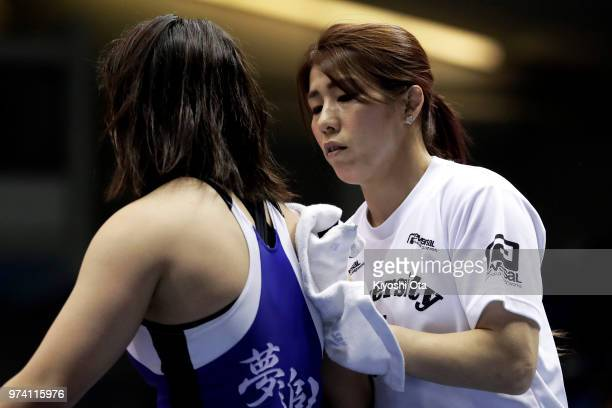 Saori Yoshida is seen while Tomoha Uchijo competes against Nao Taniyama in the Women's 55kg first round match on day one of the All Japan Wrestling...