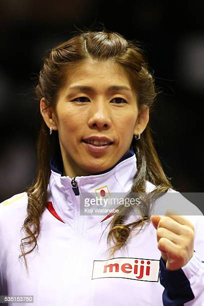 Saori Yoshida looks on with the Rio Olympic Games national team the Woman's 53kg free style during All Japan Wrestling Championships at Yoyogi...