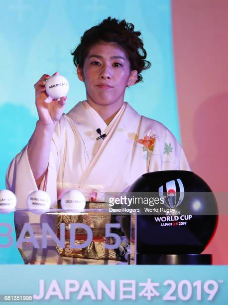 Saori Yoshida Olympic freestyle wrestler of Japan draws Americas 2 during the Rugby World Cup 2019 Pool Draw at the Kyoto State Guest House on May 10...