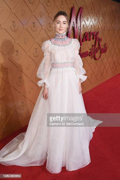 Saorise Ronan attends the European Premiere of Mary Queen of Scots at Cineworld Leicester Square on December 10 2018 in London England