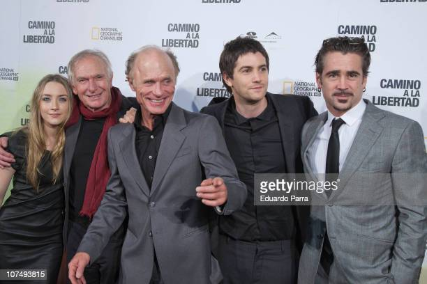 Saorise Ronan Peter Weir Ed Harris Jim Sturgess and Colin Farrel attend The Way Back premiere at Capitol cinema on December 9 2010 in Madrid Spain