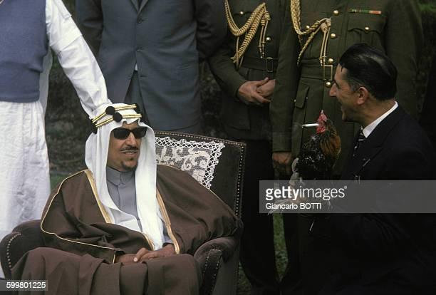 Saoud ben Abdelaziz alSaoud roi d'Arabie saoudite lors de sa visite en France en avril 1963