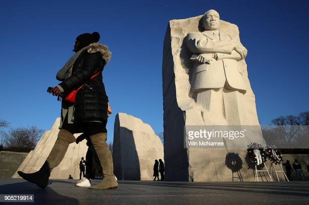 Saoudatou Dia visits the Martin Luther King Jr Memorial on Martin Luther King Day January 15 2018 in Washington DC Martin Luther King Jr would have...