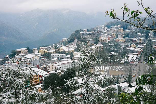 sapa town covered in snow - sapa stock pictures, royalty-free photos & images