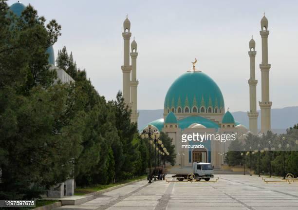 saparmurat hajji mosque, gökdepe, ashgabat suburbs, turkmenistan - ashgabat stock pictures, royalty-free photos & images