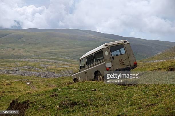 Sapin, Aragon, Pyrenees, Ordesa y Monte Perdido National Park, off-road vehicle near Canon de Anisclo