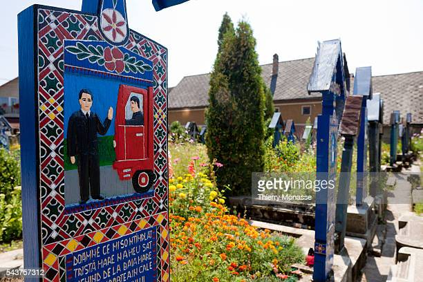 Sapânta Maramures Romania The Merry Cemetery of Sapanta The first wooden cross where designed by Stan Ioan Patras and are now made by Dimitru Pop...