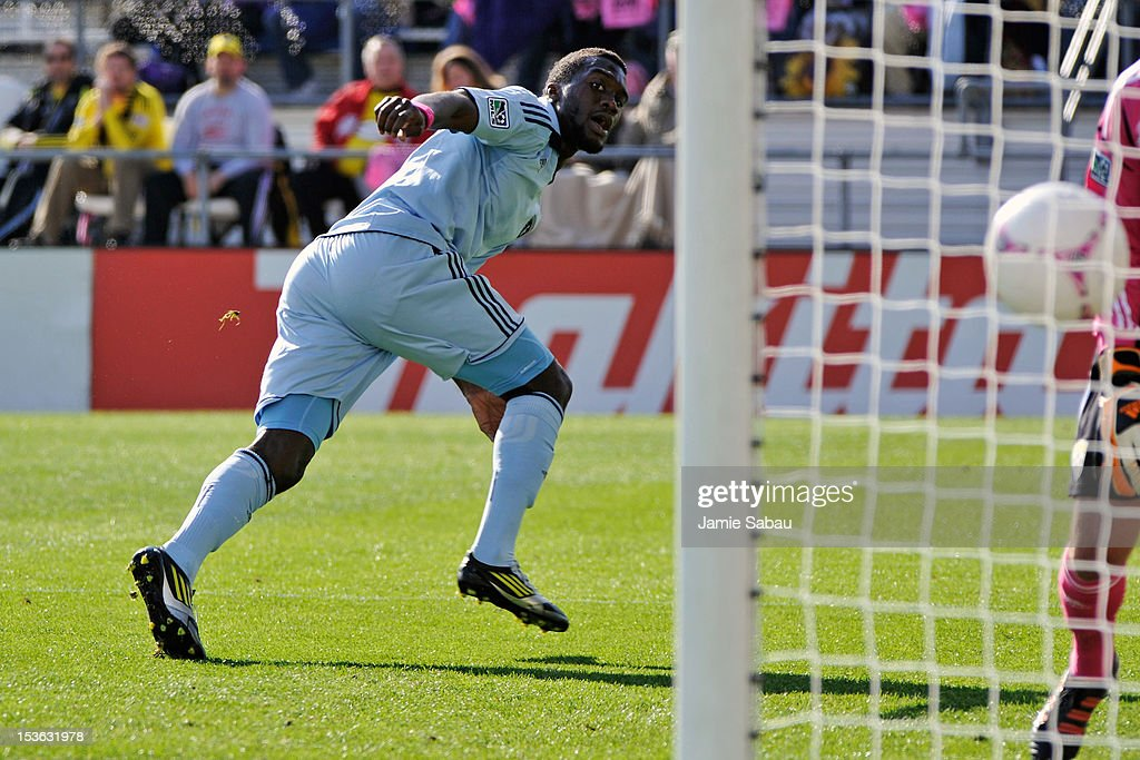 C.J. Sapong #17 of Sporting Kansas City watches as his header ball goes in the net in the first half for a goal against the Columbus Crew on October 7, 2012 at Crew Stadium in Columbus, Ohio. Columbus and Sporting Kansas City played to a 1-1 tie.