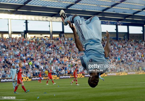 J Sapong of Sporting KC celebrates by doing a backflip after scoring during the MLS game against the Toronto FC on June 16 2012 at Livestrong...