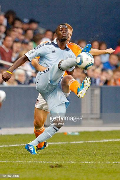 J Sapong of the Sporting Kansas City gains control of a lose ball against the Houston Dynamo in the second half during the MLS Eastern Conference...