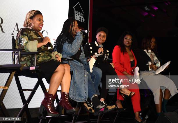 Sapphira Martin Scottie Beam Rebecca 'Bex' Francois Alysha Pamphile and Gia Peppers onstage at House Of BET An Immersive Experience on February 02...