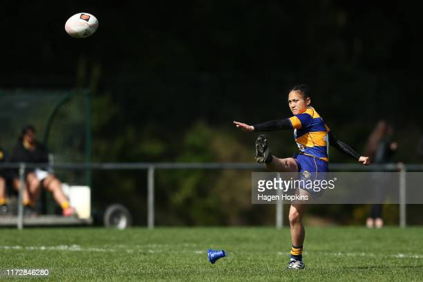 Sapphire Tapsell of Bay of Plenty kicks during the Farah Palmer Cup match between the Wellington Pride and Bay of Plenty Volcanix at Jerry Collins...