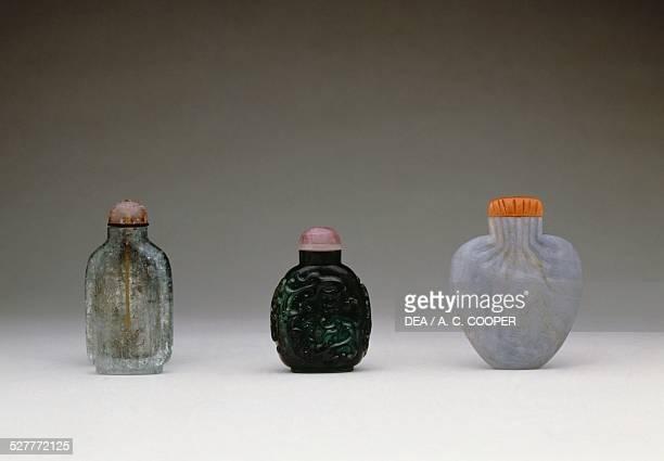 Sapphire tourmaline and blue beryl snuff bottles 19th century