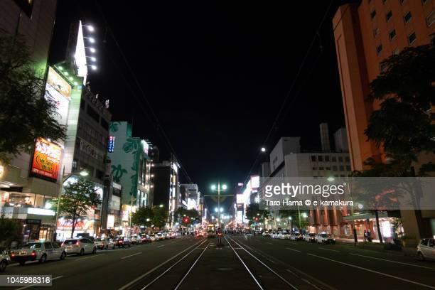 sapporo cityscape in japan - 歓楽街 ストックフォトと画像