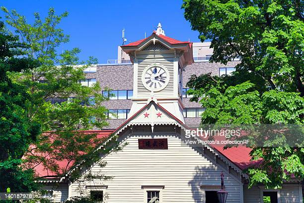 sapporo clock tower - clock tower stock pictures, royalty-free photos & images