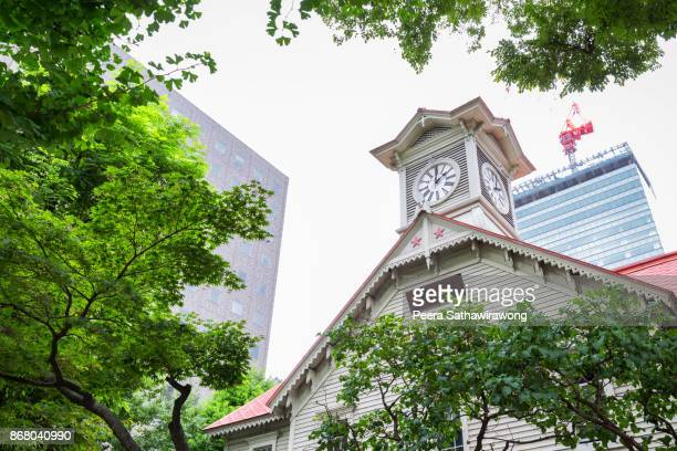 sapporo clock tower - sapporo stock pictures, royalty-free photos & images