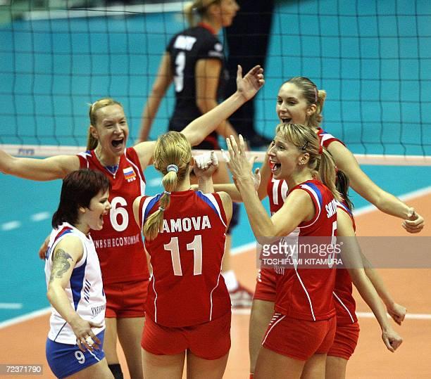 Russian volleyball players Svetlana Kryuchkova Elena Godina Ekaterina Gamova Lioubov Shashkova Yulia Merkulova and Marina Akulova celebrate their...