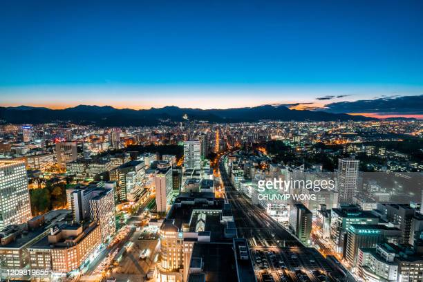 sapporo night view, japan city skyline - sapporo stock pictures, royalty-free photos & images