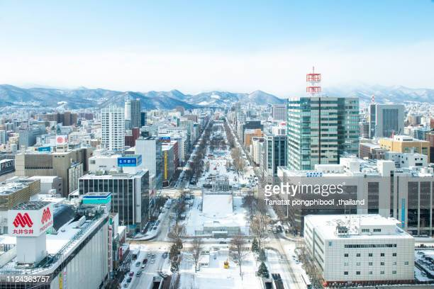 sapporo view from sapporo tv tower in sapporo city, hokkaido, japan - sapporo stock pictures, royalty-free photos & images