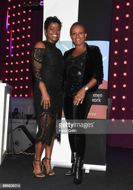 Saptosa Foster and Vanessa Bell Calloway attend 2017 Black Women Film Network Holiday Party at Revel on December 5 2017 in Atlanta Georgia