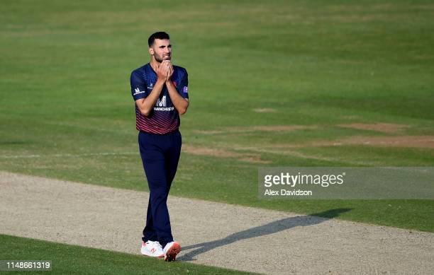 Saqib Mahmood of Hampshire looks on dejected during the Royal London One Day Cup SemiFinal match between Hampshire and Lancashire at the Ageas Bowl...