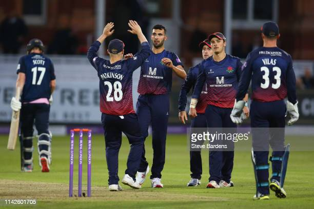 Saqib Mahmood of Lancashire celebrates taking the wicket of George Scott of Middlesex during the Royal London One Day Cup Quarter Final match between...