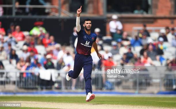 Saqib Mahmood of Lancashire gestures during the Royal London One Day Cup match between Lancashire and Northamptonshire at Emirates Old Trafford on...