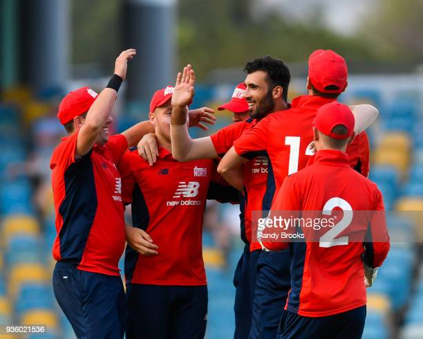 Saqib Mahmood of North celebrates the last South dismissal Ollie Pope bowled during the ECB North v South Series match Two at Kensington Oval on...