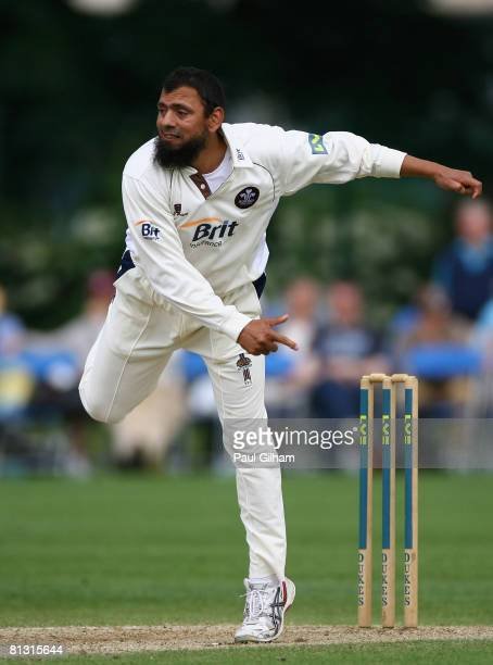 Saqlain Mushtaq of Surrey bowls during day two of the LV County Championship match between Surrey and Somerset at Whitgift School on May 31, 2008 in...