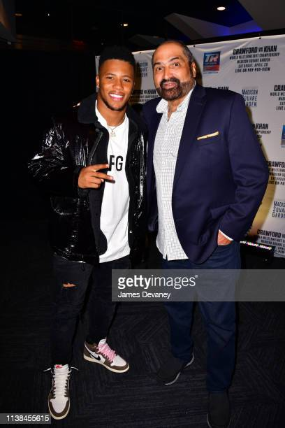 Saquon Barkley and Franco Harris attend Top Rank VIP party prior to the WBO welterweight title fight between Terence Crawford and Amir Khan at...