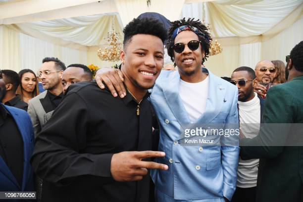 Saquon Barkley and Jay-Z attend 2019 Roc Nation THE BRUNCH on February 9, 2019 in Los Angeles, California.