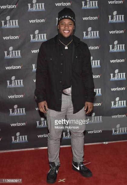 Saquon Barkley attends the world premiere event for The Team That Wouldn't Be Here documentary hosted by Verizon on January 31 2019 in Atlanta Georgia