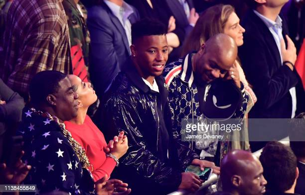 Saquon Barkley attends WBO welterweight title fight between Terence Crawford and Amir Khan at Madison Square Garden on April 20 2019 in New York City