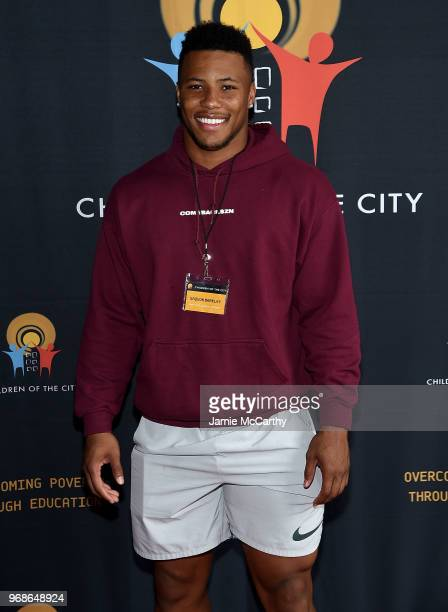 Saquon Barkley of The New York Giants attends the 4th Annual Children Of The City Charity Bowl at Lucky Strike Manhattan on June 6 2018 in New York...