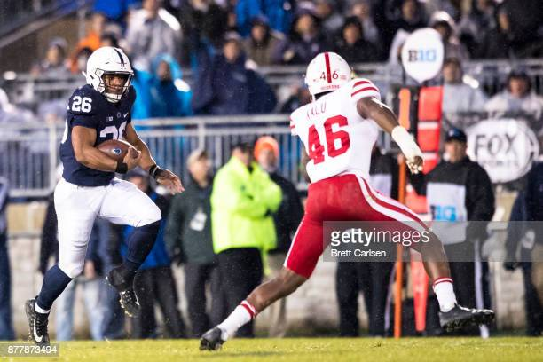 Saquon Barkley of the Penn State Nittany Lions carries the ball during the game against the Nebraska Cornhuskers on November 18 2017 at Beaver...