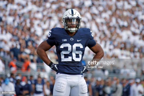 Saquon Barkley of the Penn State Nittany Lions in action against the Pittsburgh Panthers at Beaver Stadium on September 9 2017 in State College...