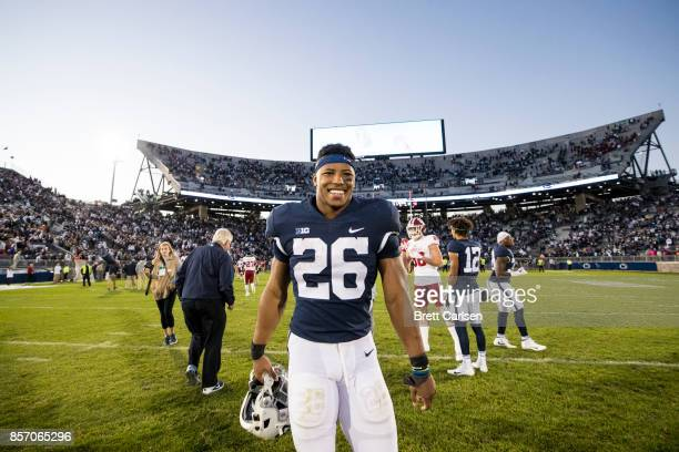 Saquon Barkley of the Penn State Nittany Lions leaves the field after the game against the Indiana Hoosiers on September 30 2017 at Beaver Stadium in...