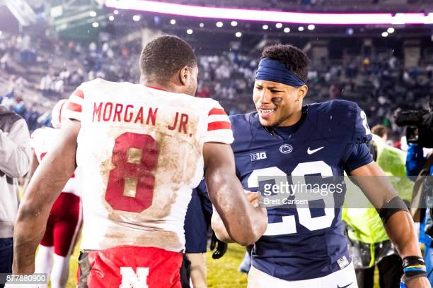 Saquon Barkley of the Penn State Nittany Lions shakes hands with Stanley Morgan Jr #8 of the Nebraska Cornhuskers after the game on November 18 2017...