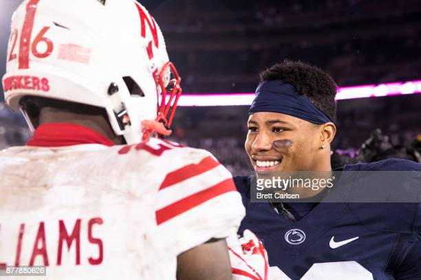 Saquon Barkley of the Penn State Nittany Lions shakes hands with Kieron Williams of the Nebraska Cornhuskers after the game on November 18 2017 at...