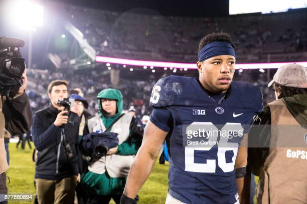 Saquon Barkley of the Penn State Nittany Lions walks off the field after the game against the Nebraska Cornhuskers on November 18 2017 at Beaver...