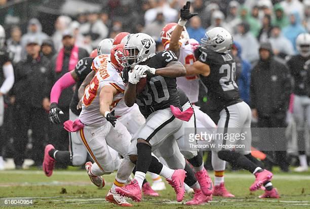 SaQwan Edwards of the Oakland Raiders returns a kickoff against the Kansas City Chiefs during an NFL football game at OaklandAlameda County Coliseum...