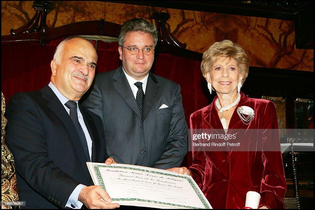 Sar Prince Hassan Ben Talal De Jordanie, Prince Laurent De Belgique, Helene Carrere D' Encausse at The Grand Prix De La Fondation Prince Louis De Polignac Awards At Maxim's In Paris.